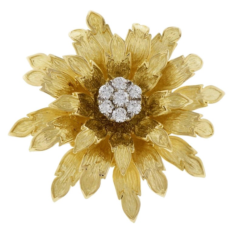 Tiffany & Co. .56 Carat Diamond Textured Gold Flower Brooch For Sale