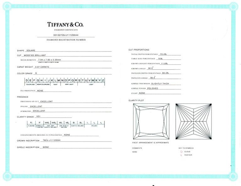 Tiffany & Co. 6 Carat Princess Cut Diamond Platinum Drop Earrings For Sale 3