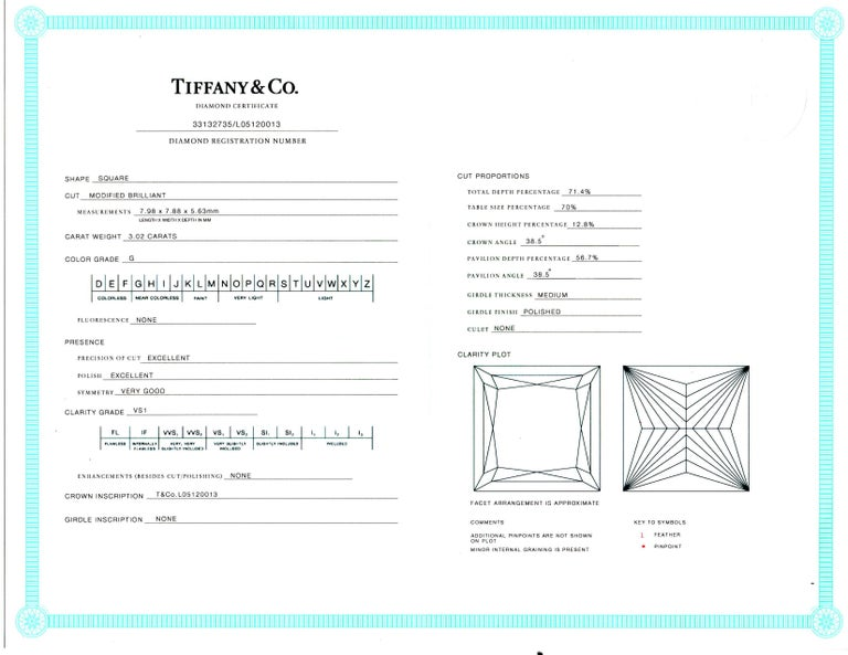 Tiffany & Co. 6 Carat Princess Cut Diamond Platinum Drop Earrings For Sale 4