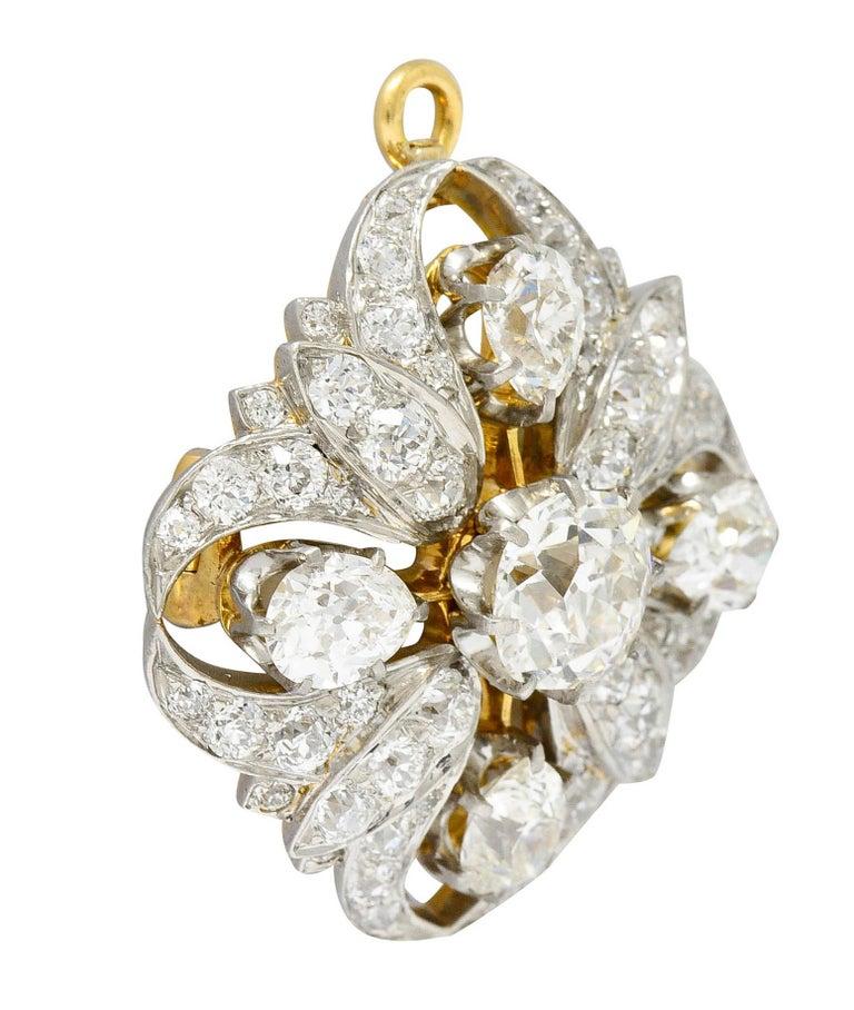 Edwardian Tiffany & Co. 6.05 Carats Diamond Platinum 18 Karat Gold Quatrefoil Brooch For Sale