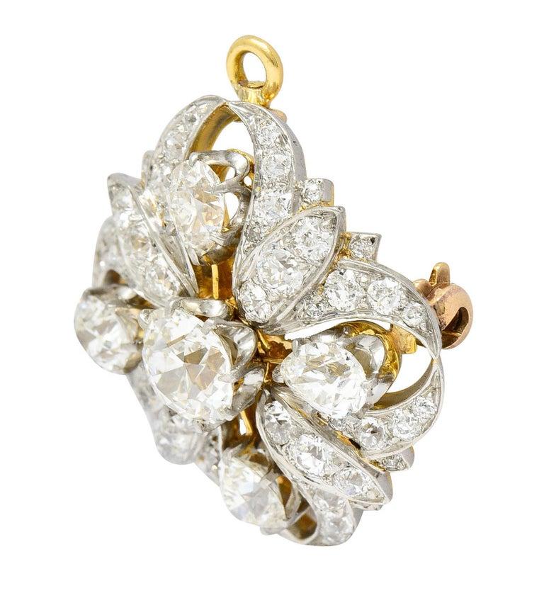 Tiffany & Co. 6.05 Carats Diamond Platinum 18 Karat Gold Quatrefoil Brooch In Excellent Condition For Sale In Philadelphia, PA