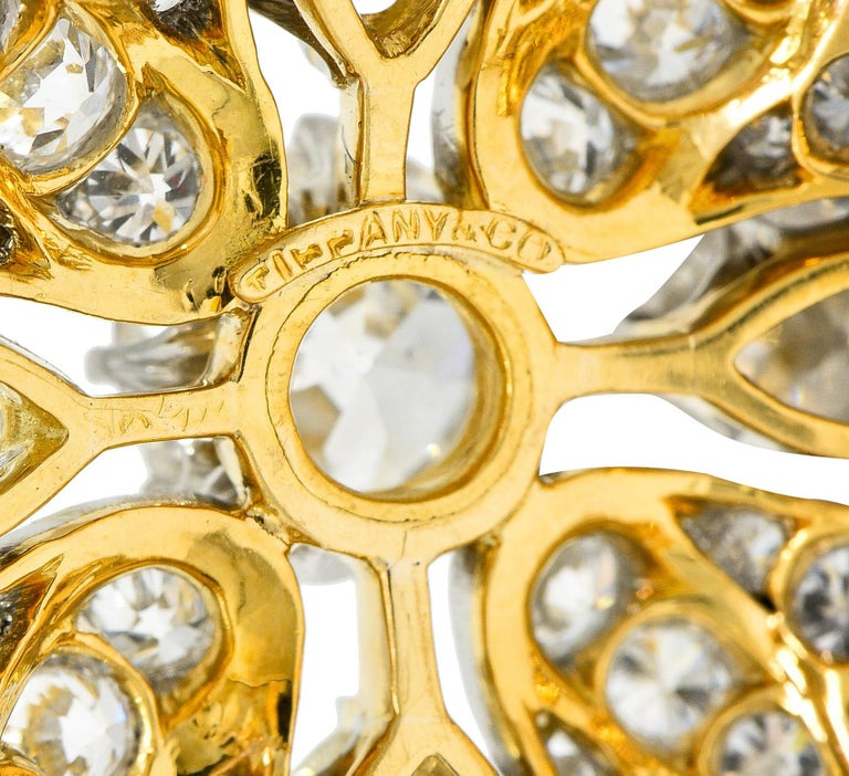 Women's or Men's Tiffany & Co. 6.05 Carats Diamond Platinum 18 Karat Gold Quatrefoil Brooch For Sale