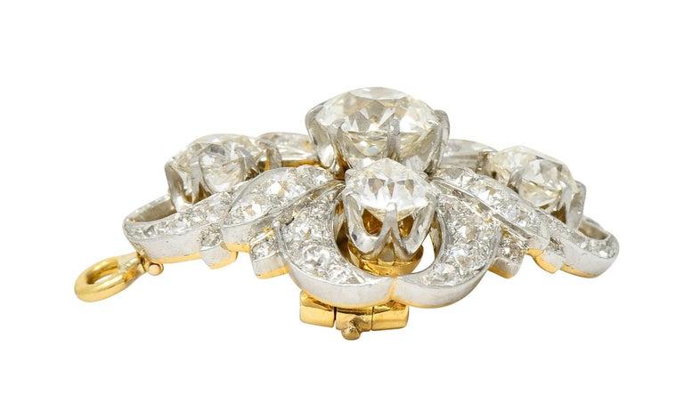Tiffany & Co. 6.05 Carats Diamond Platinum 18 Karat Gold Quatrefoil Brooch For Sale 1