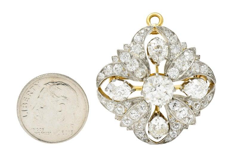 Tiffany & Co. 6.05 Carats Diamond Platinum 18 Karat Gold Quatrefoil Brooch For Sale 3