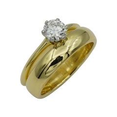 Tiffany & Co. .60ct Round Brilliant Diamond G/VVS1 Platinum and Gold Solitaire