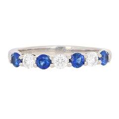 Tiffany & Co. .64Ctw Sapphire & Diamond Ring - 950 Platinum Embrace Wedding Band