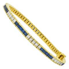 Tiffany & Co. 7.17 Carat Sapphire Diamond 18 Karat Gold Line Bracelet