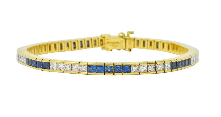 Princess Cut Tiffany & Co. 7.17 Carat Sapphire Diamond 18 Karat Gold Line Bracelet For Sale