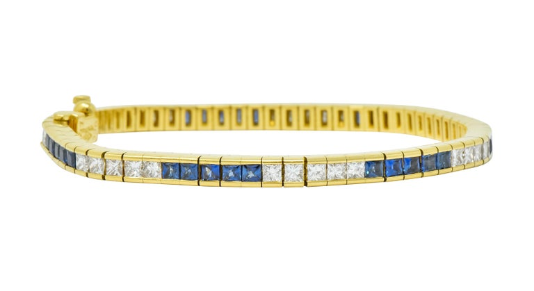 Tiffany & Co. 7.17 Carat Sapphire Diamond 18 Karat Gold Line Bracelet For Sale 6