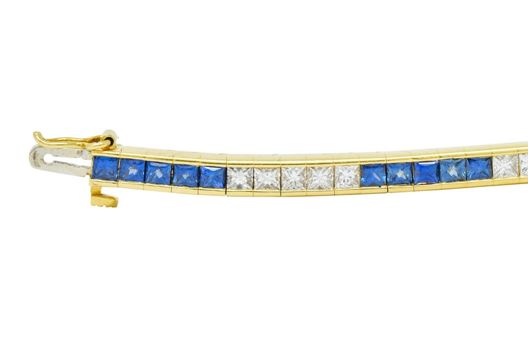 Tiffany & Co. 7.17 Carat Sapphire Diamond 18 Karat Gold Line Bracelet In Excellent Condition For Sale In Philadelphia, PA
