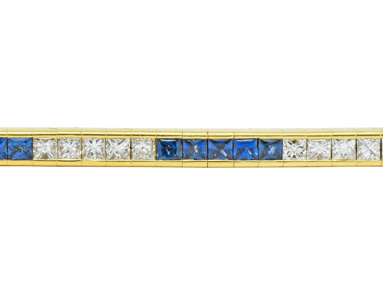 Women's or Men's Tiffany & Co. 7.17 Carat Sapphire Diamond 18 Karat Gold Line Bracelet For Sale