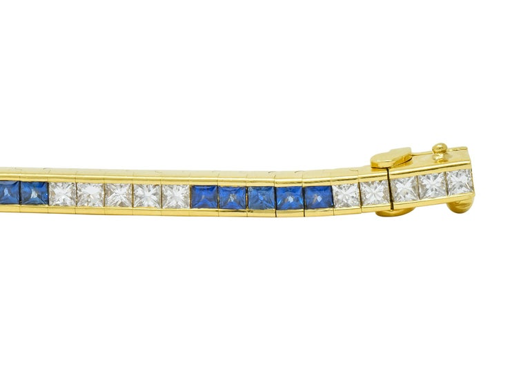 Tiffany & Co. 7.17 Carat Sapphire Diamond 18 Karat Gold Line Bracelet For Sale 1