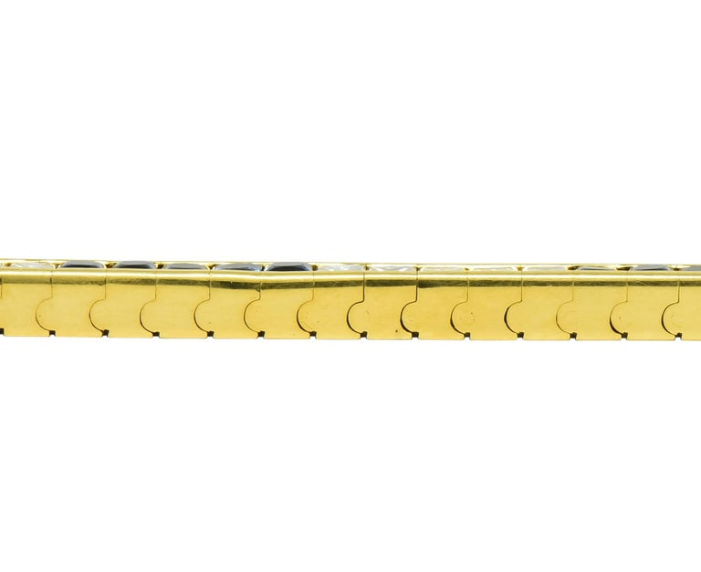 Tiffany & Co. 7.17 Carat Sapphire Diamond 18 Karat Gold Line Bracelet For Sale 3