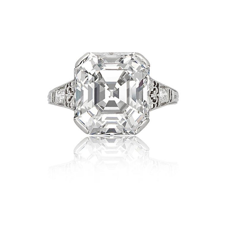Tiffany & Co Asscher Cut Diamond Ring with a 7.31Ct Asscher Cut Diamond, D color, VVS2 Clarity Accompanied by GIA report no. 5151435546 stating that the diamond is D color, VVS2 clarity. Together with a letter from the GIA stating that the diamond