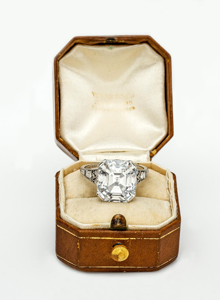 Art Deco Tiffany & Co. 7.31ct Asscher Cut Diamond Ring D Color VVS2, Type IIA, circa 1925 For Sale