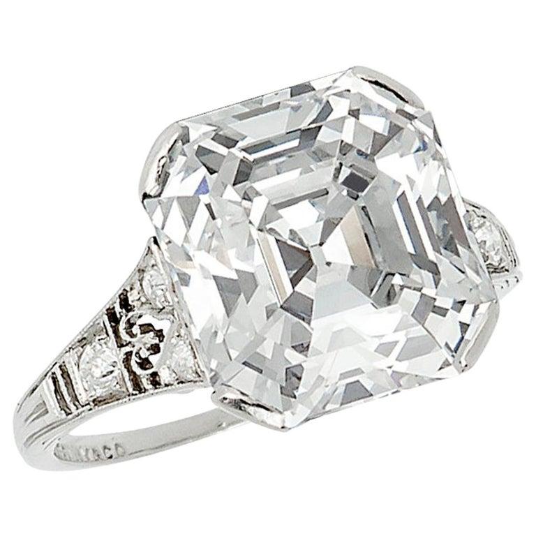 Tiffany & Co. 7.31ct Asscher Cut Diamond Ring D Color VVS2, Type IIA, circa 1925 For Sale