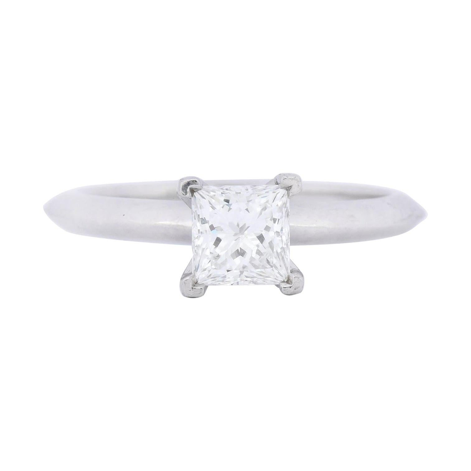Tiffany & Co. .74 Carat Princess Cut Diamond Platinum Solitaire Engagement Ring