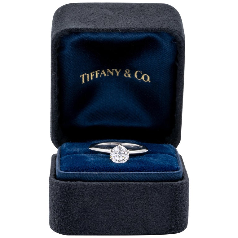 Tiffany & Co. .77 Carat Center G VS1 Round Excellent Cut Engagement Ring For Sale