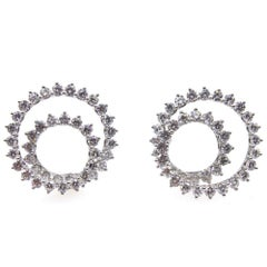 Tiffany & Co. 8.0 Carat Diamond Large Swirl Platinum Clip Earrings