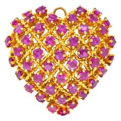 Tiffany & Co. 8.00 Carat Ruby 18 Karat Gold Heart Pendant Brooch