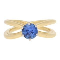 Tiffany & Co. .86ct Round Cut Sapphire Ring, 18K Gold and Platinum Solitaire