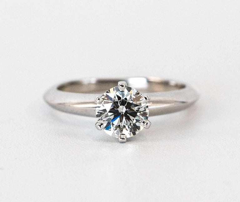 Round Cut Tiffany & Co .91 Carat Round Brilliant Diamond Centre Engagement Ring For Sale