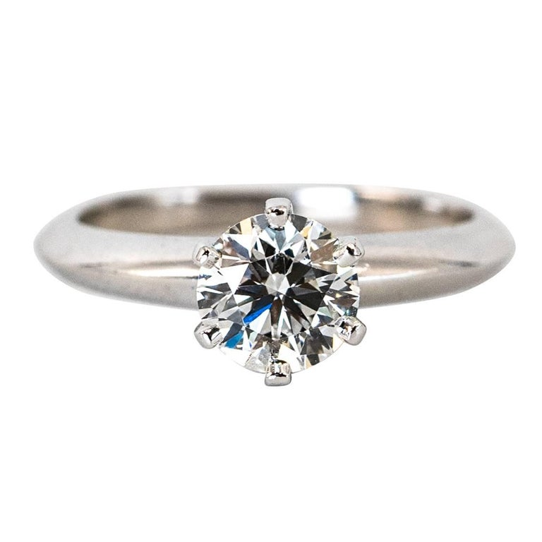 Tiffany & Co .91 Carat Round Brilliant Diamond Centre Engagement Ring For Sale