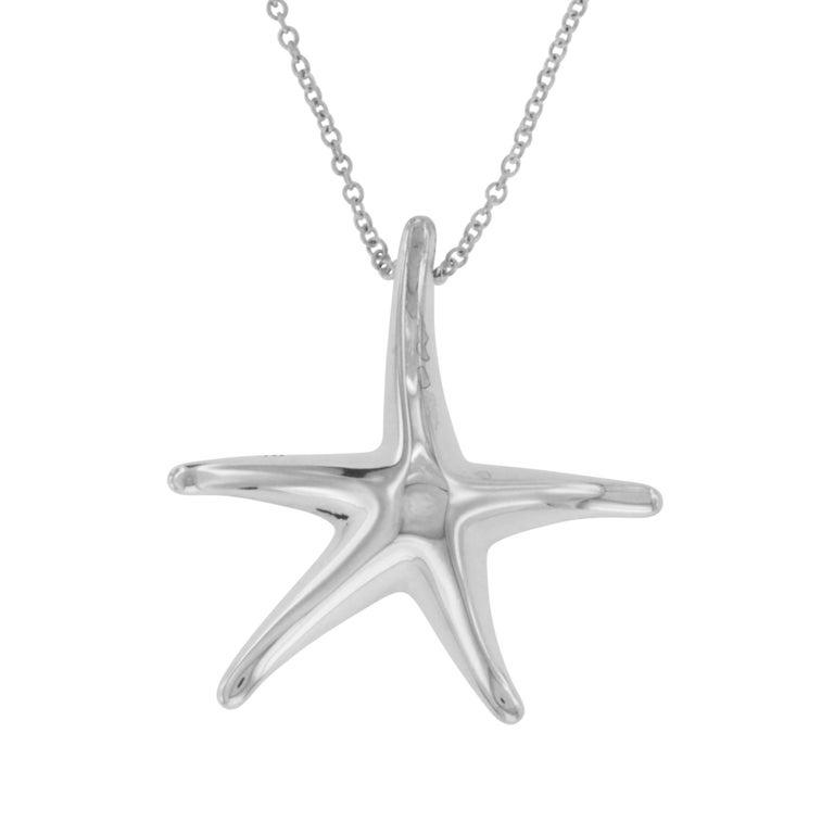 3dc44a76b Tiffany & Co. 925 Silver Elsa Peretti Starfish Pendant Necklace For Sale