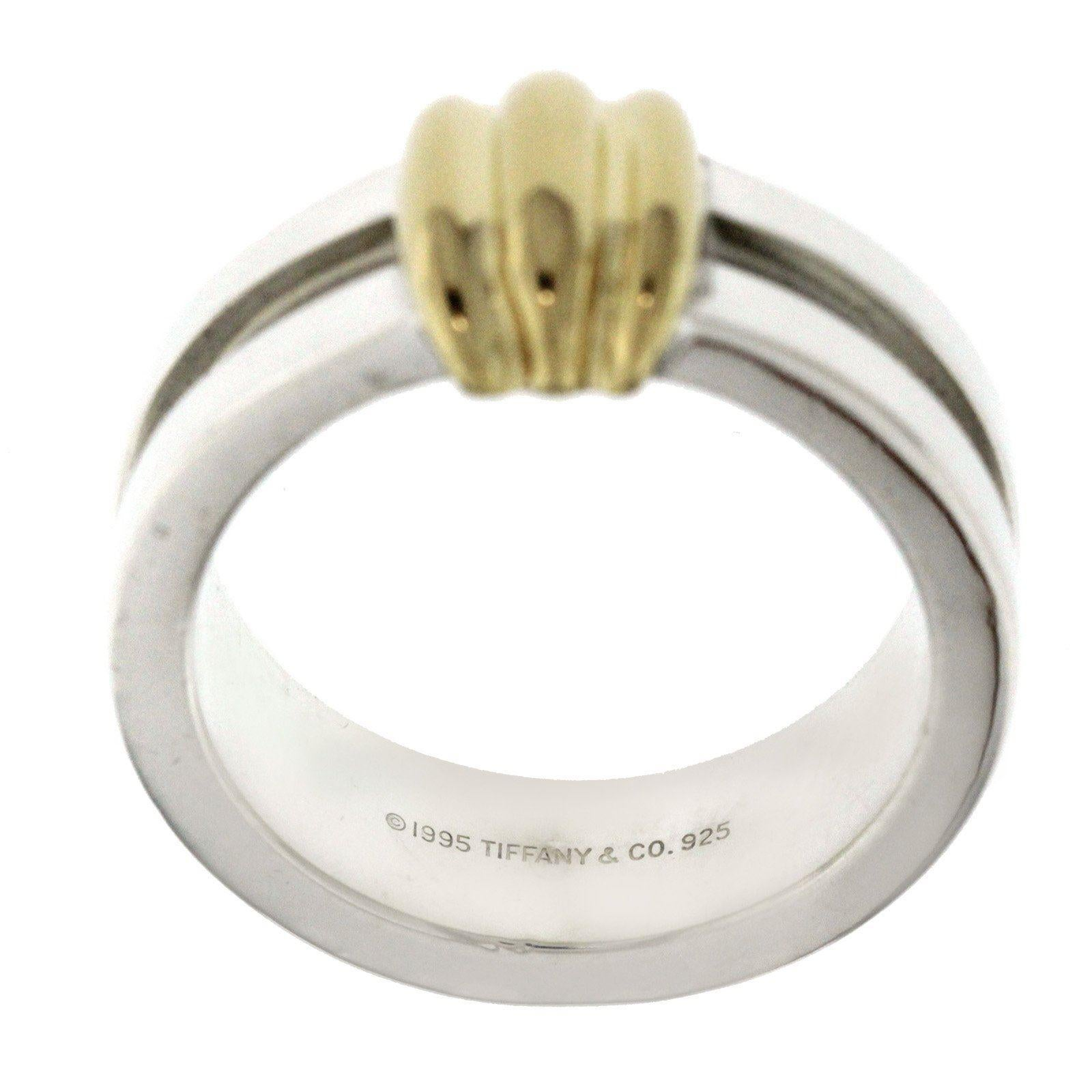 78cd30d17de Tiffany and Co. 925 Sterling Silver 18 Karat Gold Atlas Groove Band Ring at  1stdibs
