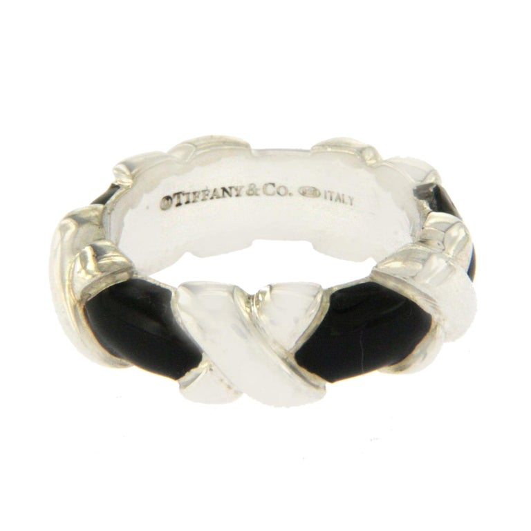 Tiffany And Co 925 Sterling Silver And Black Enamel