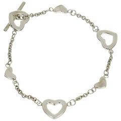 Tiffany & Co. 925 Sterling Silver Heart Link Bracelet