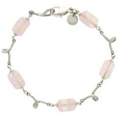 Tiffany & Co. 925 Sterling Silver Rose Quartz Beads Link Bracelet