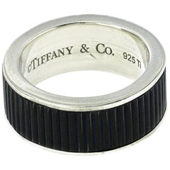 Tiffany & Co. 925 Sterling Silver Titanium Coin Edge Band Ring