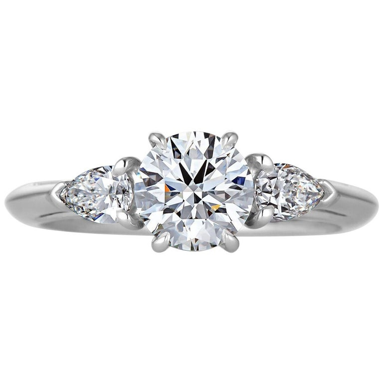 Tiffany & Co. .93 Carat Round Brilliant Cut Diamond Engagement Ring For Sale