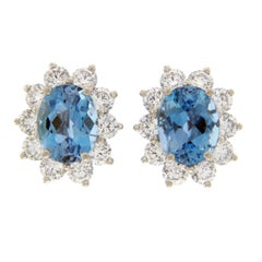 Tiffany & Co. 950 Platinum Aquamarines and Diamonds Stud Earrings