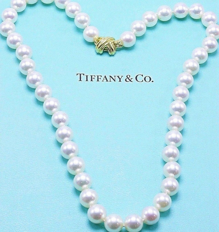 1ecd63c72 Tiffany & Co Classic Signature X Akoya Cultured Pearl Strand Necklace in 18  KT Yellow Gold