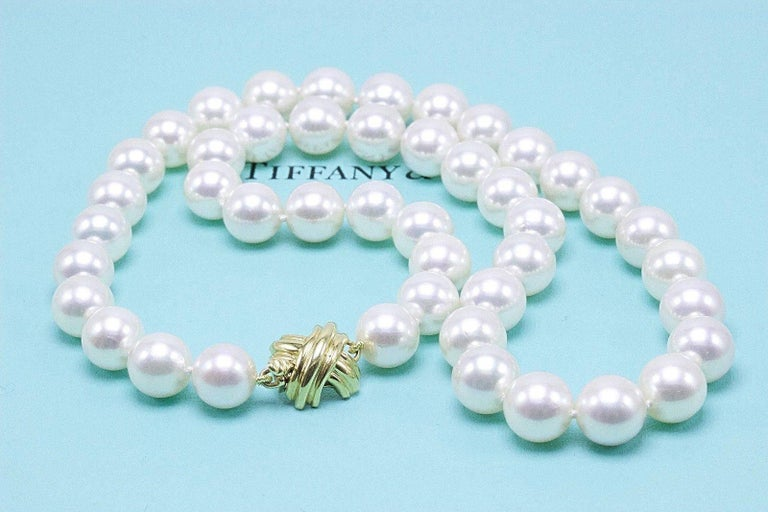 aa89b6b57 Round Cut Tiffany & Co. Akoya Cultured Pearl Signature X Necklace 18 Karat Yellow  Gold