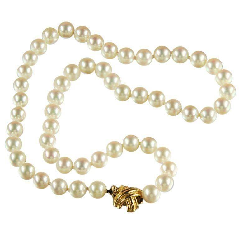 Tiffany & Co. Akoya Cultured Pearl Signature X Necklace 18 Karat Yellow Gold
