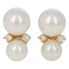 Tiffany & Co. Akoya Pearl & Diamond Earrings Yellow Gold, 18 Karat Pierced Studs