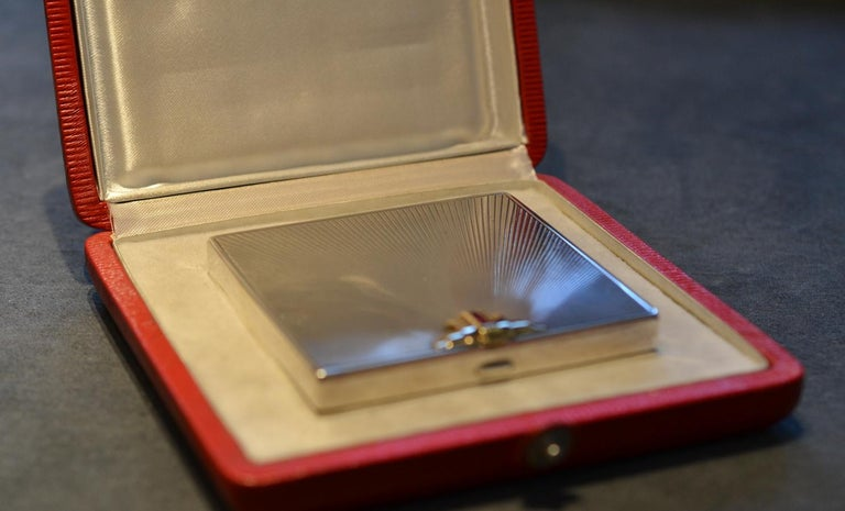 1940s Tiffany & Co. American Art Deco Silver Gem Set Cigarette Case For Sale