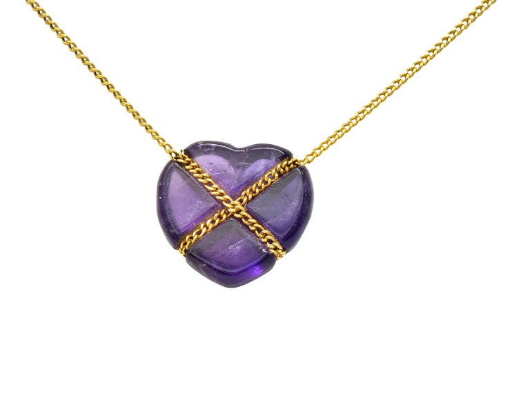 Cabochon Tiffany & Co. Amethyst 18 Karat Gold Cross My Heart Necklace For Sale
