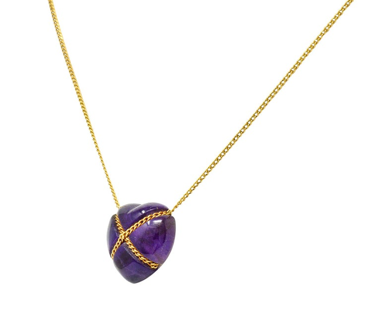 Contemporary Tiffany & Co. Amethyst 18 Karat Gold Cross My Heart Necklace For Sale