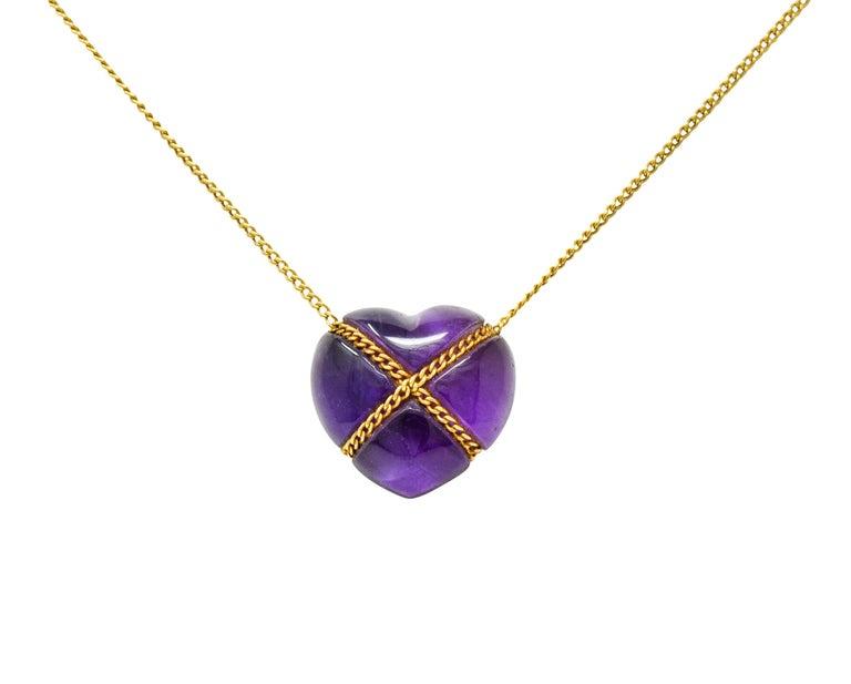 Tiffany & Co. Amethyst 18 Karat Gold Cross My Heart Necklace For Sale 2