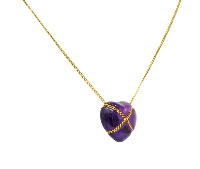 Tiffany & Co. Amethyst 18 Karat Gold Cross My Heart Necklace In Excellent Condition For Sale In Philadelphia, PA