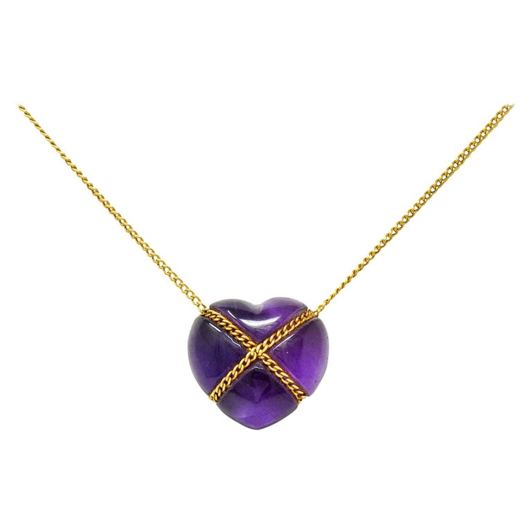 Tiffany & Co. Amethyst 18 Karat Gold Cross My Heart Necklace For Sale