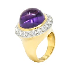 Tiffany & Co. Amethyst Cabochon Diamond 18 Karat Gold Vintage Ring