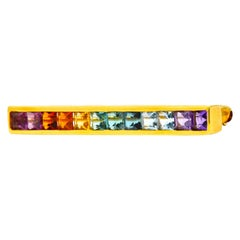 Tiffany & Co. Amethyst Citrine Multi-Gem 18 Karat Gold Rainbow Bar Brooch