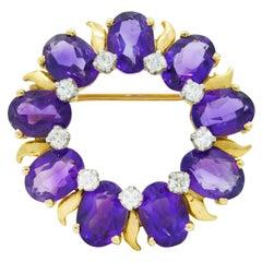 Tiffany & Co. Amethyst Diamond 14 Karat Gold Wreath Brooch