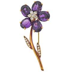 Tiffany & Co. Amethyst Diamond Gold Flower Brooch