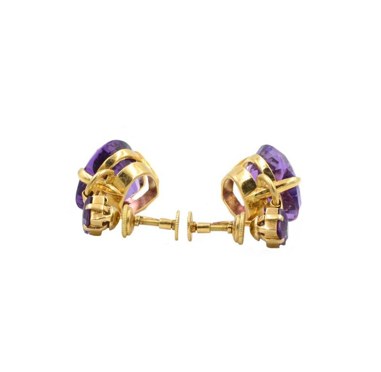 Tiffany & Co 14k Amethyst heart and square earrings, screw back clips, marked